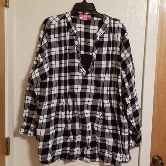 06ad0a9f413 Tops | Woman Within Black And White Plaid Tunic Shirt | Poshmark